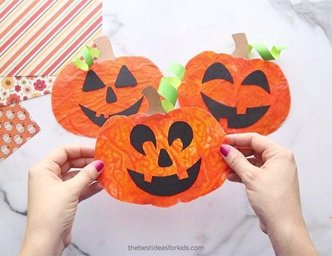 Crayon Melted Pumpkin Suncatcher Craft