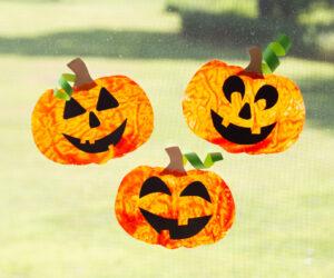 Crayon Melted Suncatcher Pumpkins