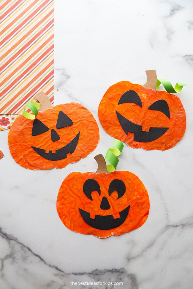 Pumpkin Crayon Melted Suncatchers