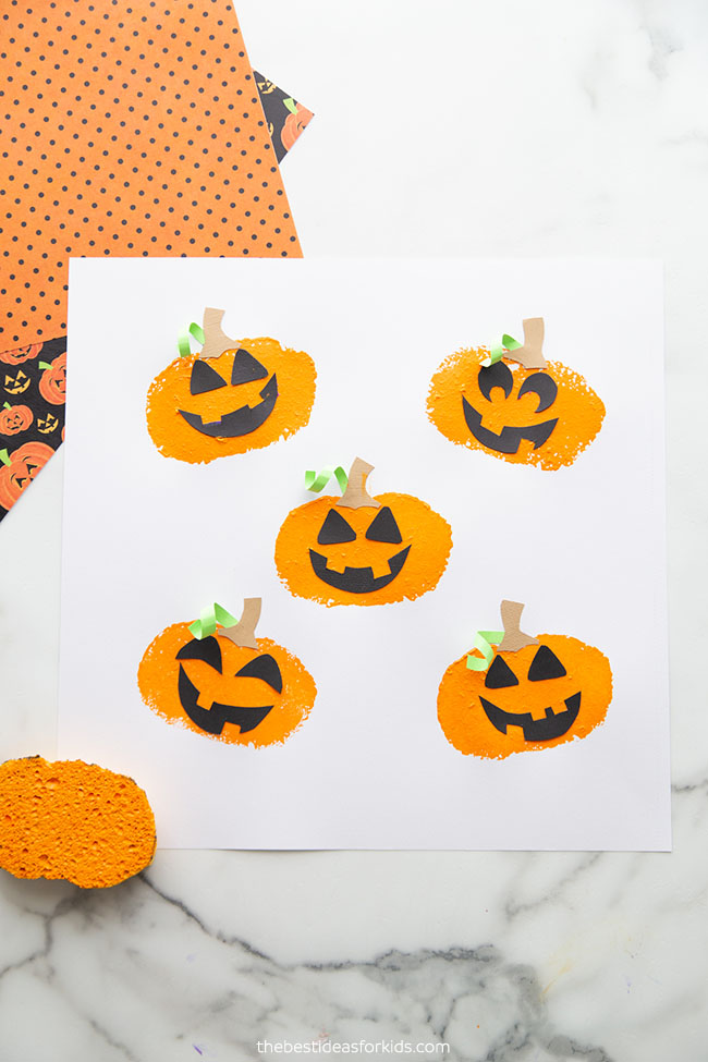Sponge Painted Pumpkins