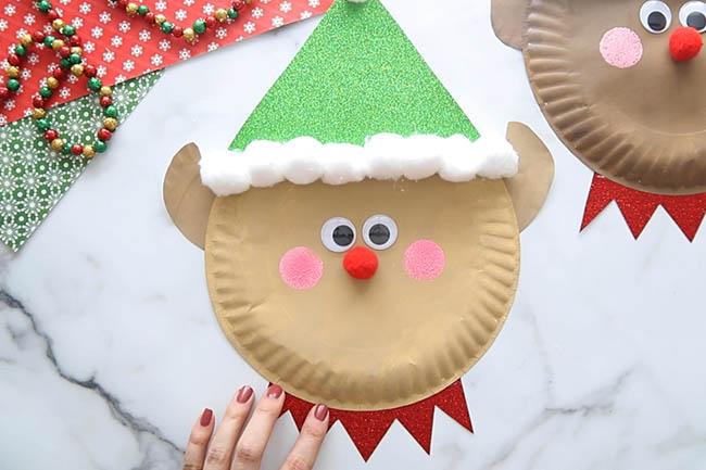 Add Cheeks to Elf Paper Plate