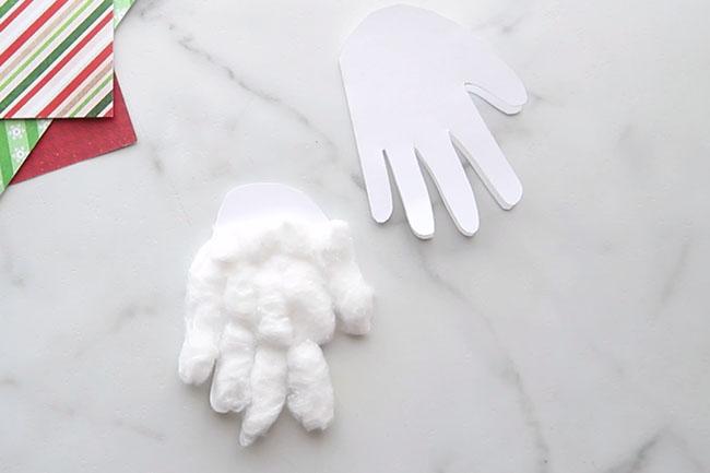 Glue Cotton Balls to Gnome Handprint
