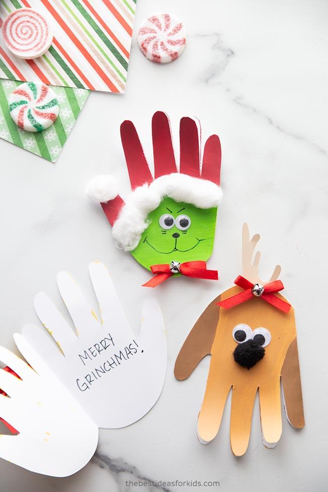 Grinch Handprint Cards