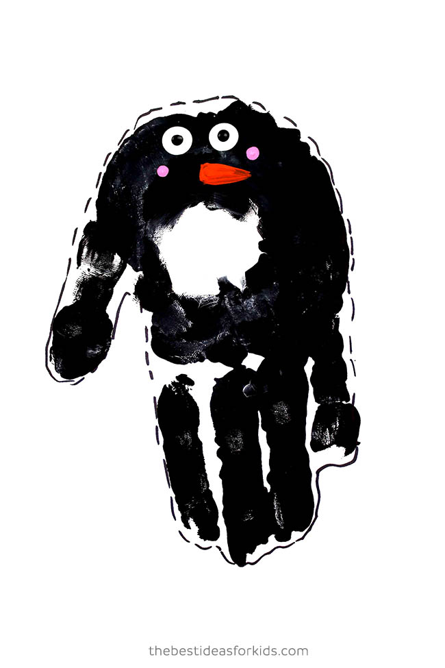 Handprint Penguin with Paint