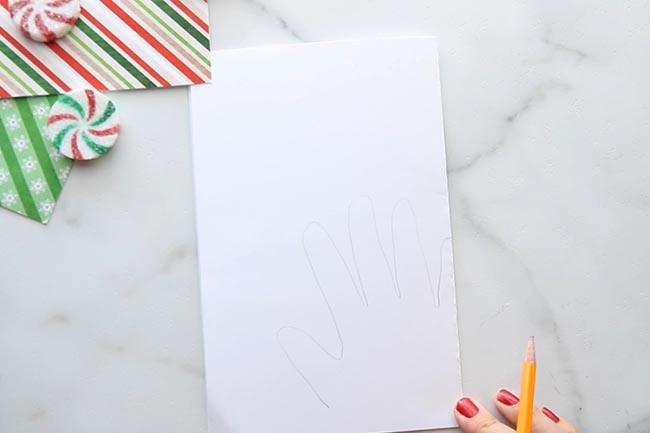 Trace Handprint on White Cardstock