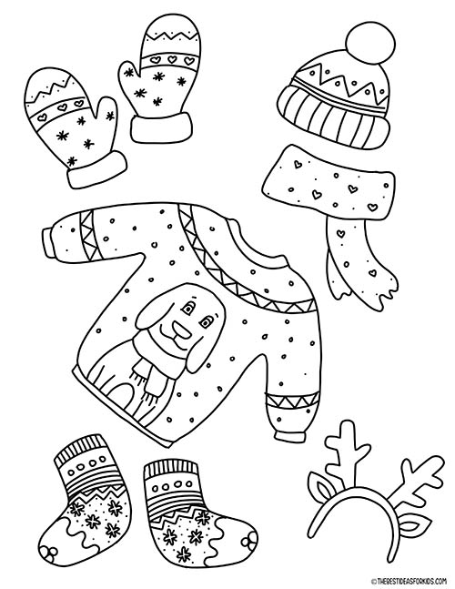 Winter Clothing Coloring Page