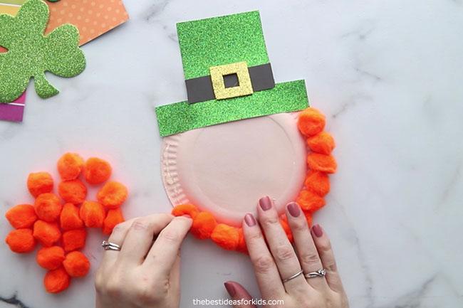Glue Pom Poms to Paper Plate