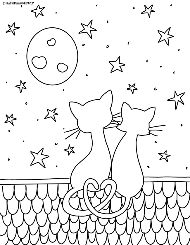 Valentine Cats Coloring Page