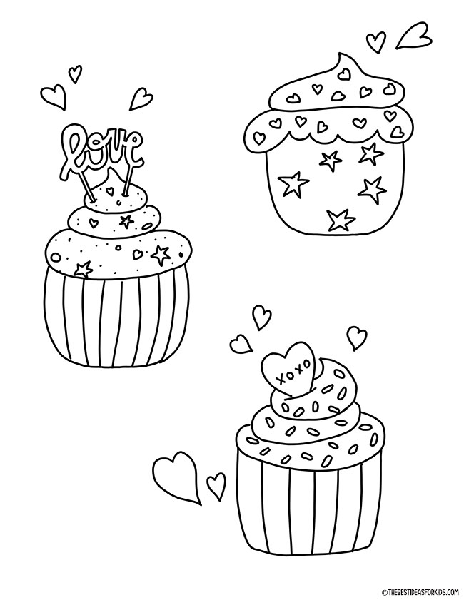 Valentine Cupcakes Coloring Page
