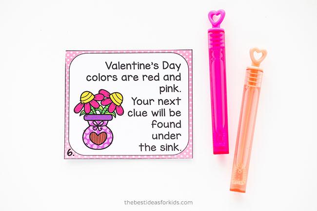 Valentine's Day Scavenger Hunt Clue Card